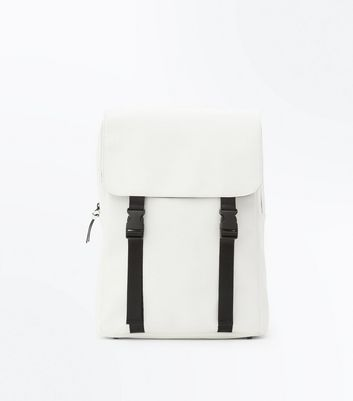 White Contrast Double Strap Backpack New Look
