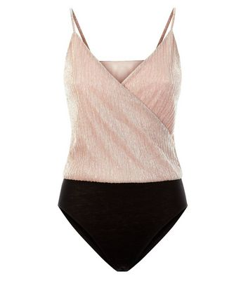 Pink Vanilla Pink Metallic Wrap Front Bodysuit New Look