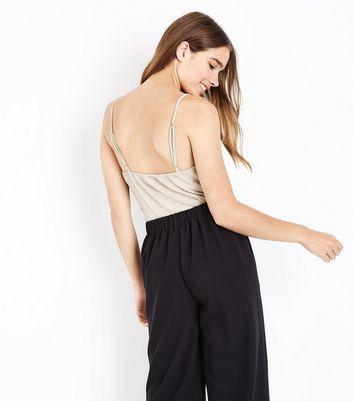 Pink Vanilla Gold Metallic Wrap Front Bodysuit New Look