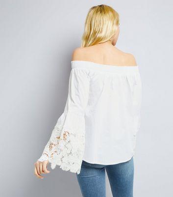 Blue Vanilla White Crochet Sleeve Bardot Top New Look