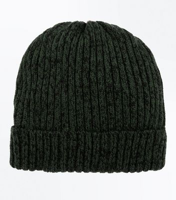 Olive Green Ribbed Twist Top Beanie New Look