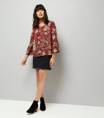 Blue Vanilla Red Floral Print Bell Sleeve Chiffon Top New Look