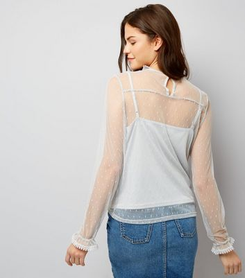 Blue Vanilla Grey Frill Trim Sheer Panel Top New Look
