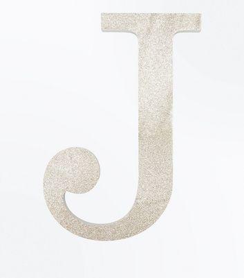Gold Glitter Decorative J Initial New Look