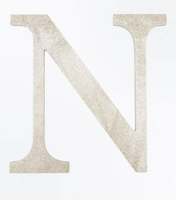 Gold Glitter Decorative N Initial New Look