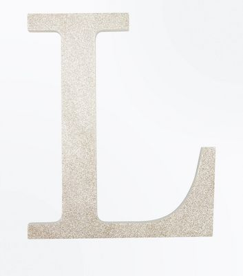 Gold Glitter Decorative L Initial New Look