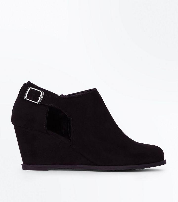 691e4a36da2d Girls Black Suedette Wedge Heel Boots