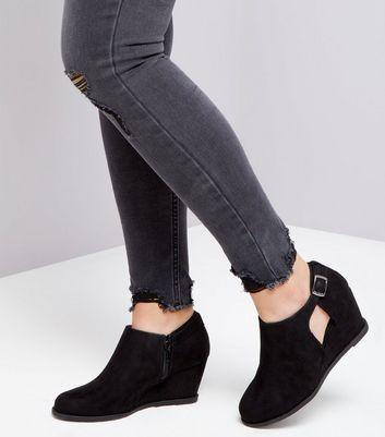 Teens Black Suedette Wedge Heel Boots New Look