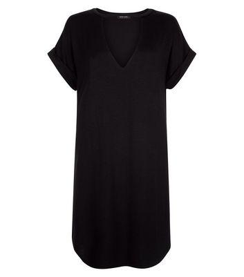 Black Choker Neck T-Shirt Dress New Look
