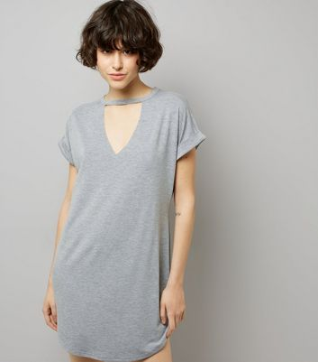 Mid Grey Choker Neck T-Shirt Dress New Look