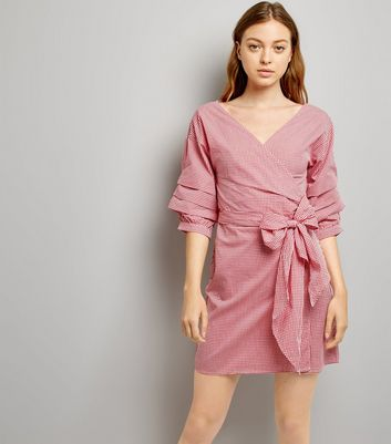 Red Gingham Ruched Sleeve Wrap Dress New Look