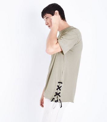 Olive Green Lace Up Side Split T-Shirt New Look