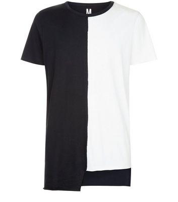 White Colour Block Asymmetric T-Shirt New Look