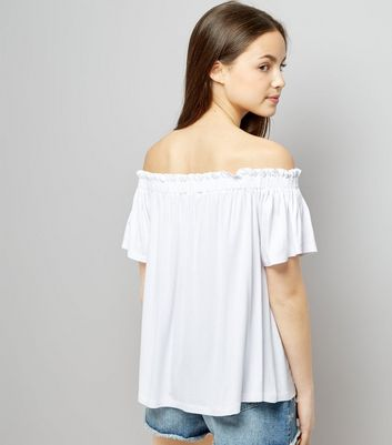 Teens White Bardot Neck Top New Look