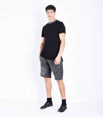 Grey Acid Wash Reverse Panel Shorts New Look
