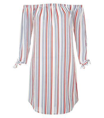 White Stripe Tie Sleeve Bardot Neck Dress New Look