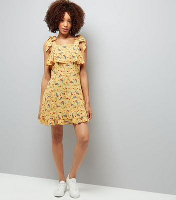 Yellow Floral Print Tie Shoulder Sun Dress New Look