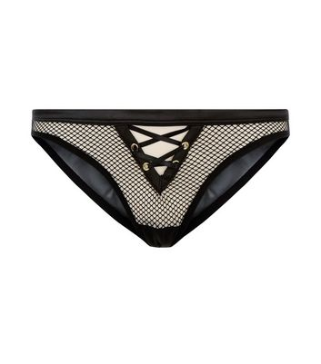 Black Lattice Front Fishnet Brazilian Briefs New Look