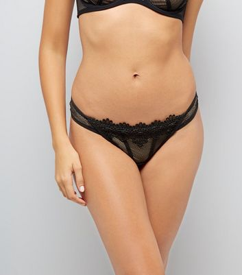 Black Lace Trim Fishnet Thong New Look
