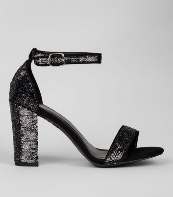 Black Sequin Block Heel Sandals New Look