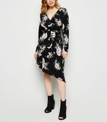 Petite Black Floral Wrap Front Asymmetric Dress