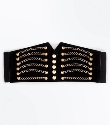 Black and Gold Chain Detail Corset Belt New Look