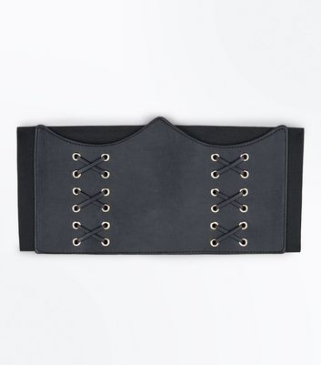 Black Curved Top Corset Belt New Look