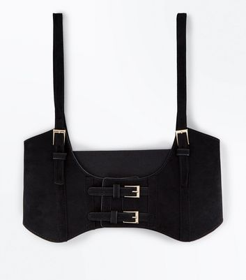 Black Velvet Under Bust Corset Belt New Look