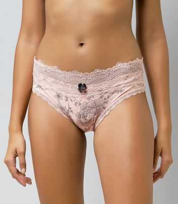 Pink Floral Print Lace Trim Briefs New Look