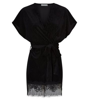 Black Velvet Ribbed Lace Trim Robe New Look