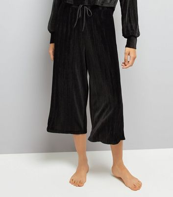Black Velvet Ribbed Pyjama Culottes New Look