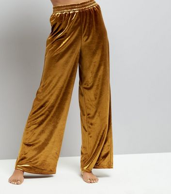 Gold Velvet Wide Leg Trousers New Look