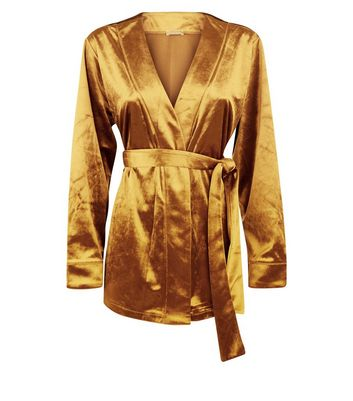 Gold Velvet Kimono Robe New Look