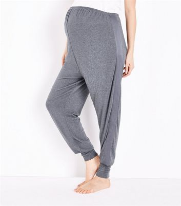 Maternity Dark Grey Satin Trim Joggers New Look