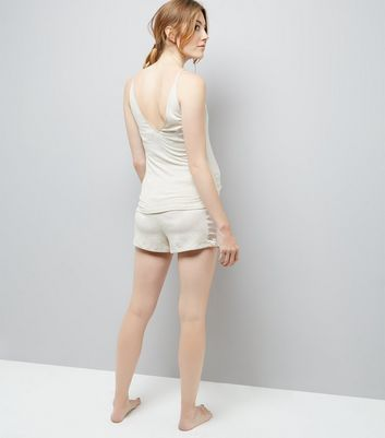 Maternity Cream Satin Trim Jersey Pyjama Shorts New Look