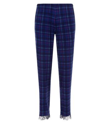 Blue Check Lace Trim Pyjama Bottoms New Look