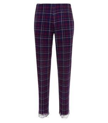 Purple Check Lace Trim Pyjama Bottoms New Look