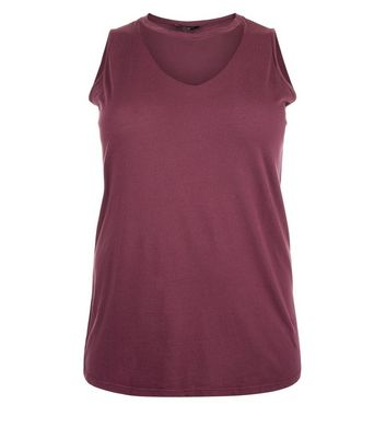 Curves Burgundy Choker Neck Tank Top New Look