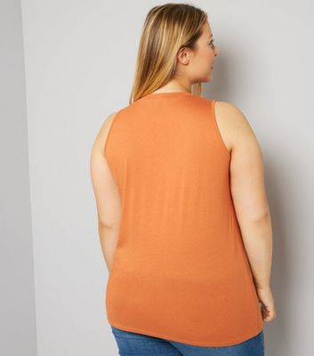 Curves Orange Choker Neck Tank Top New Look