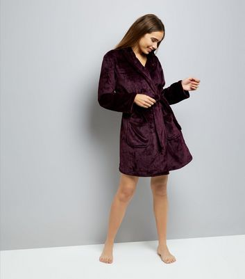Burgundy Fluffy Robe New Look
