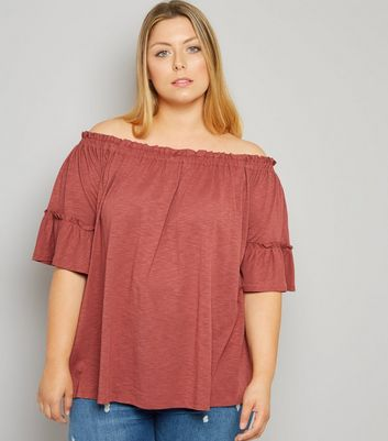 Curves Orange Bell Sleeve Bardot Neck Top New Look