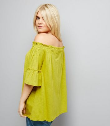 Curves Yellow Bell Sleeve Bardot Neck Top New Look