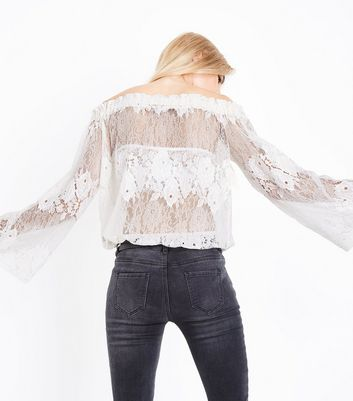 Blue Vanilla White Lace Bardot Neck Top New Look