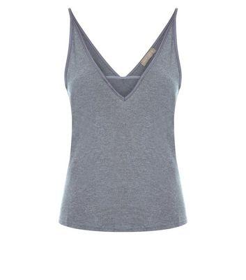 Dark Grey Satin Trim Pyjama Cami New Look