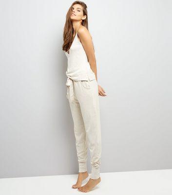 Cream Satin Belt Brushed Jersey Pyjama Joggers New Look
