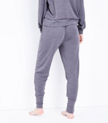 Petite Dark Grey Jersey Satin Belt Pyjama Joggers New Look
