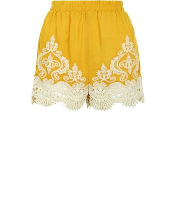 Yellow Contrast Crochet Hem Shorts New Look