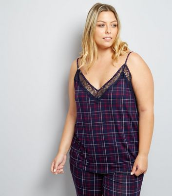 Curves Purple Check Lace Panel Pyjama Cami New Look