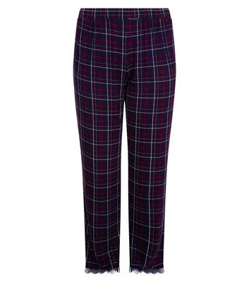 Curves Purple Check Lace Hem Pyjama Bottoms New Look
