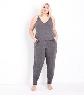 Curves Dark Grey Brushed Jersey Pyjama Cami New Look